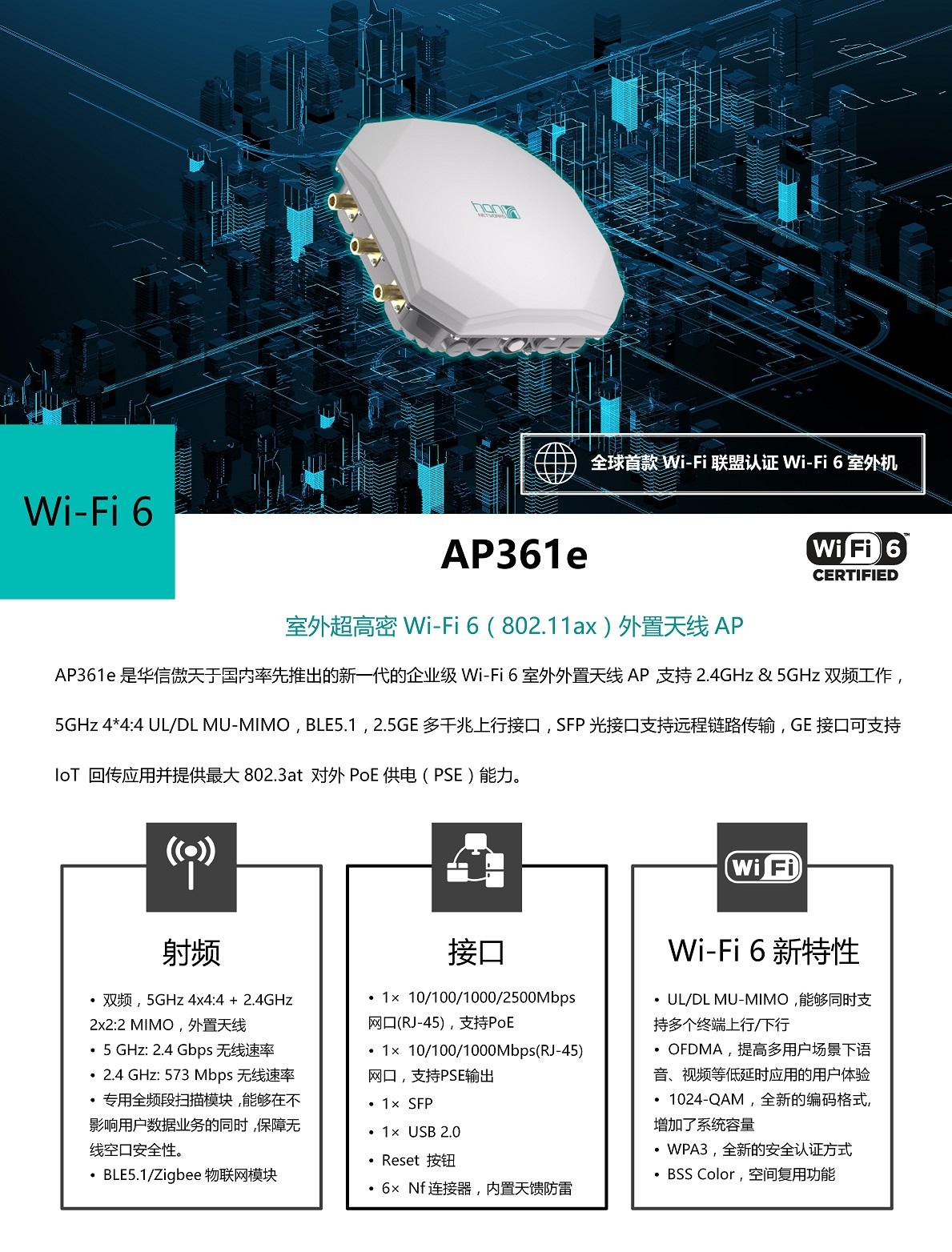 AP361E   华信傲天WIFI6接入点(图1)