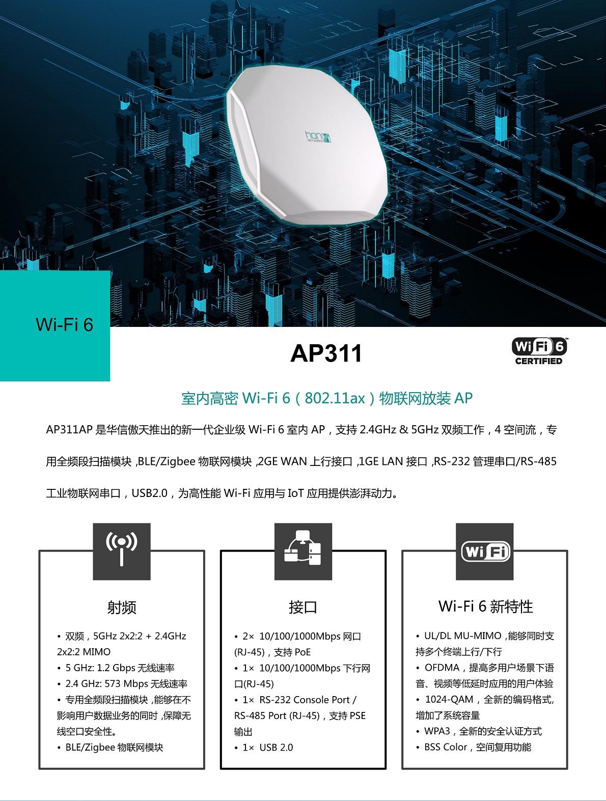 AP311 | 华信傲天WIFI6接入点(图1)